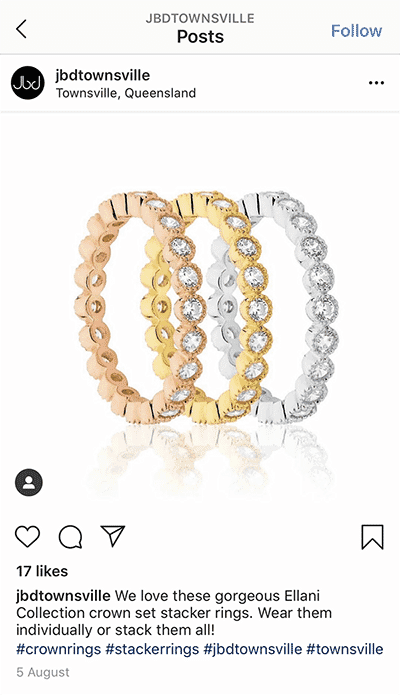 Jewelry product photography instagram