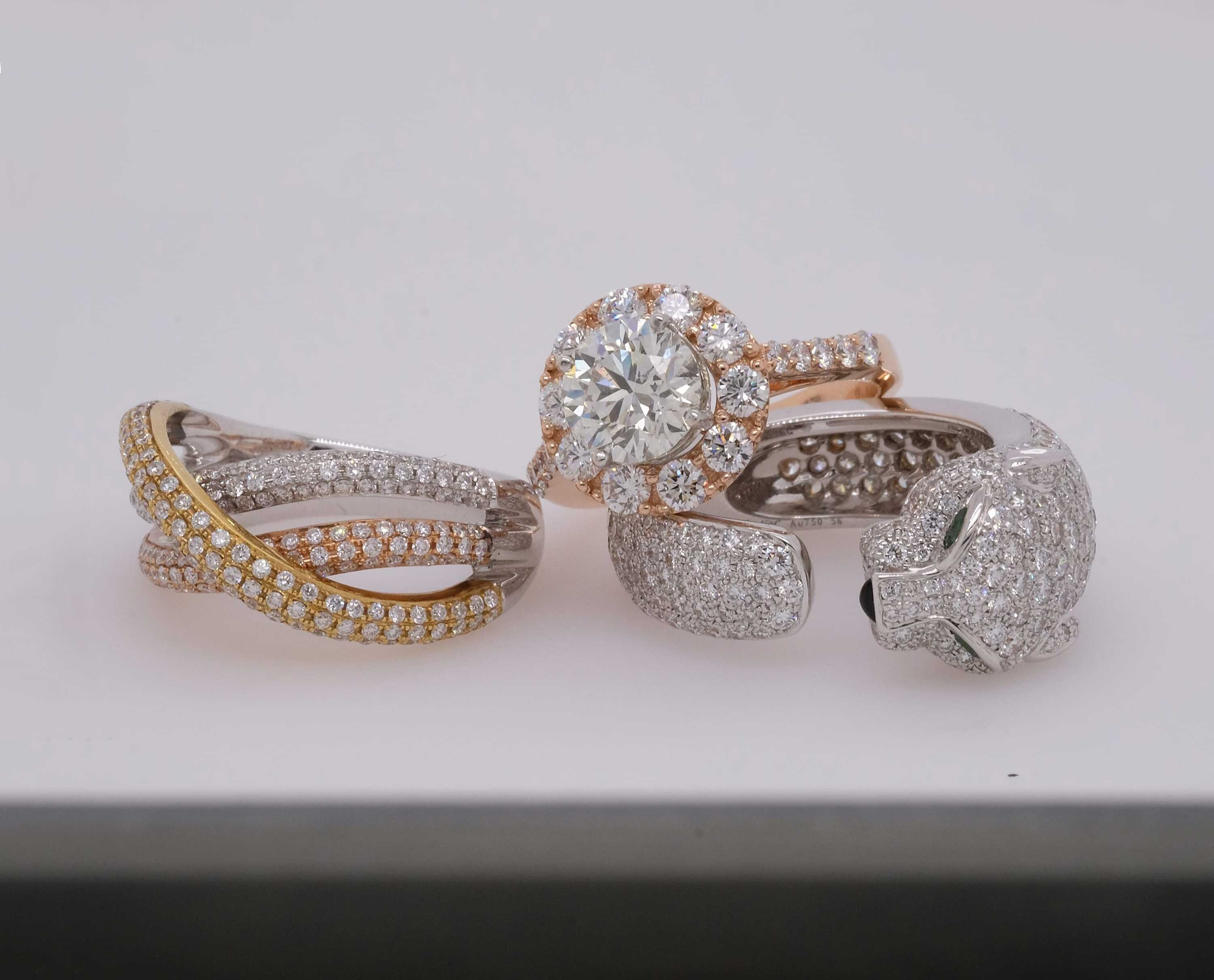 Jewelry photography - stack of rings