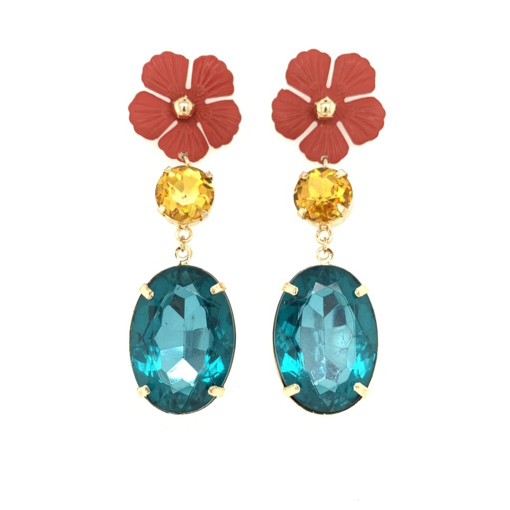 Flower gem earrings